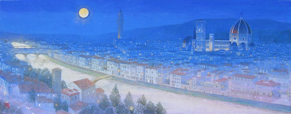 40号変形 月明かりの街(フィレンツェ)