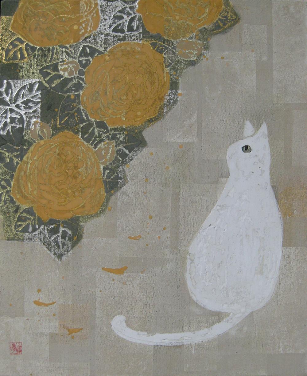 F8白猫とバラ