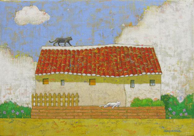 猫と赤い屋根の建物 SM